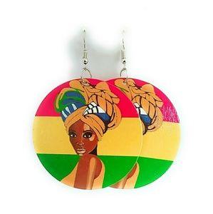 Multicolored rasta Color headwrap wood Earrings